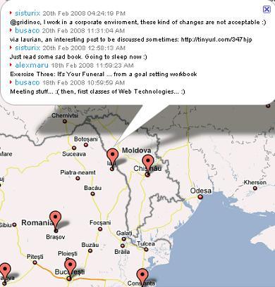 Twitosfera pe Google Maps